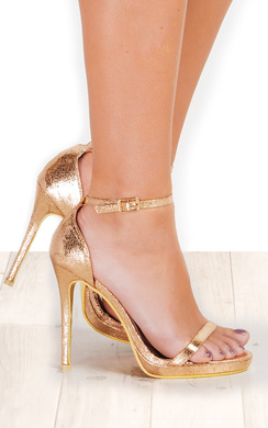 View the Rihana Foiled Barely There Heels  online at iKrush