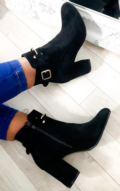 View the Isla Buckle Faux Suede Ankle Boots online at iKrush