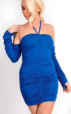 View the Isla Ruched Bodycon Choker Dress online at iKrush
