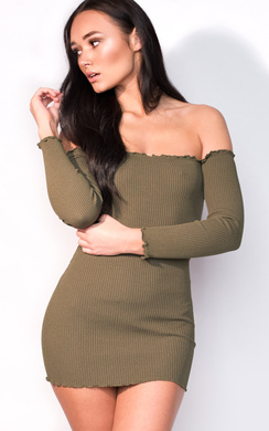 View the Sienna Long Sleeve Bardot Luxe Bandage Dress online at iKrush
