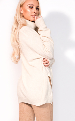 View the Kaley Knitted High Neck Lattice Side Jumper online at iKrush