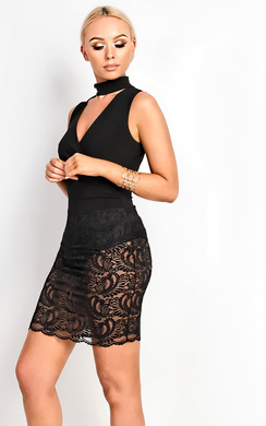 View the Rosa Lace Bodycon Dress online at iKrush