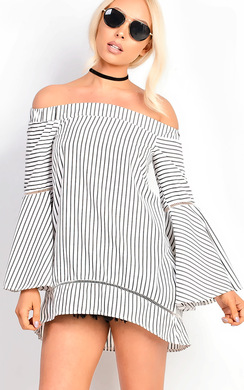 View the Lolita Bardot Stripe Bell Sleeve Top  online at iKrush