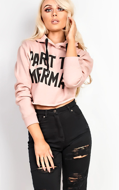 View the Arista Cropped Slogan Hoodie  online at iKrush