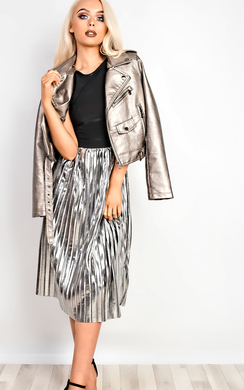 View the Roxie Faux Leather Metallic Jacket online at iKrush
