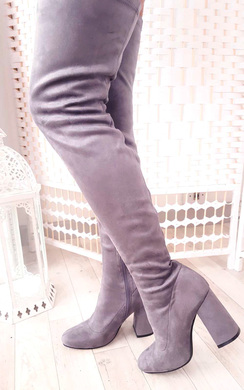 View the Abigail Faux Suede Knee High Boots online at iKrush