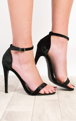 View the Sierra Crushed Velvet Barely There Heels online at iKrush