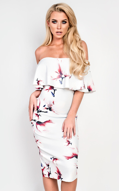 View The Sydney Off Shoulder Fl Dress Online At Ikrush