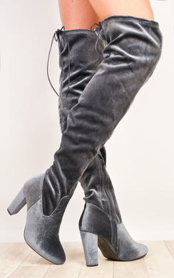 View the Fawn Velour Knee High Boots  online at iKrush