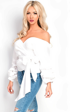 View the Reese Ruffle Sleeve Wrap Tie Front Shirt online at iKrush