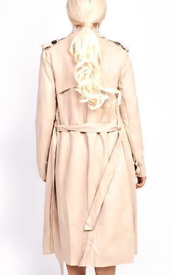 View the Alana Faux Suede Trench Jacket online at iKrush