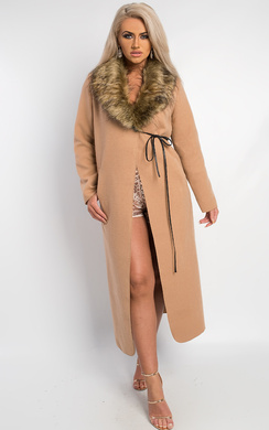 View the Jude Faux Fur Collar Coat  online at iKrush