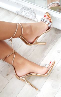 View the Jalena Jewelled Clear Strap Heels online at iKrush