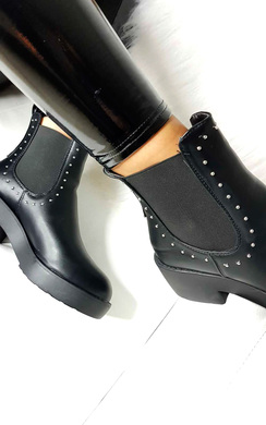 View the Faye Studded Chelsea Faux Leather Ankle Boots online at iKrush