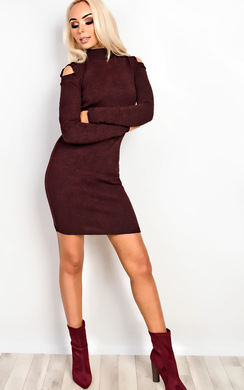 View the Preslie Cold Shoulder Knitted Bodycon Dress online at iKrush