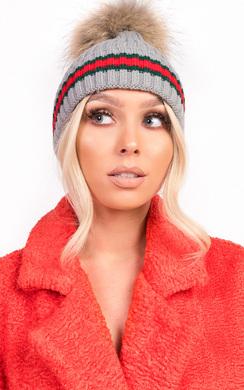 View the Emile Faux Fur Stripe Pom pom Hat online at iKrush