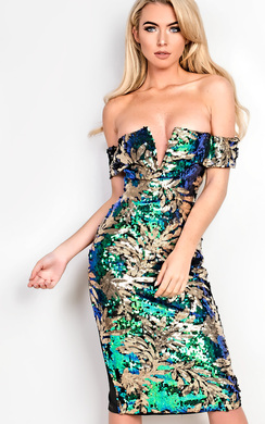 View the Selene Off Shoulder Embellished Bodycon Dress  online at iKrush