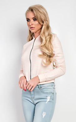 View the Francesca Striped Bomber Jacket online at iKrush