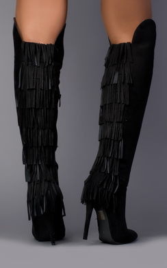 View the Genoa Fringed Knee High Boots online at iKrush