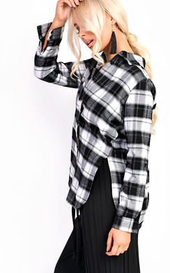 View the Yasmin Checked Oversized Shirt  online at iKrush