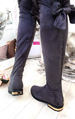 View the Lena Faux Suede Fluffy Bow Knee High Boots online at iKrush