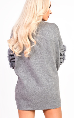 View the Eva Faux Fur Panel Knitted Dress online at iKrush