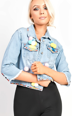 View the Sorela Crop Pom Pom Denim Jacket  online at iKrush