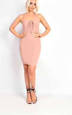 View the Mirey Lace Up Bodycon Dress online at iKrush