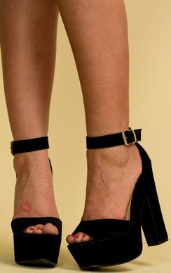 View the Aubree Suede Platform Heels online at iKrush