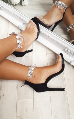 View the Jessi Jewelled Clear Strap Heels online at iKrush