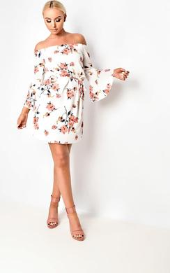 View the Karolina Bardot Floral Dress online at iKrush