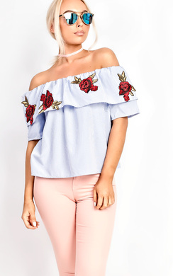 View the Bianca Bardot Applique Top  online at iKrush