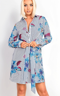 View the Sassi Blue Stripe Floral Shirt Dress online at iKrush