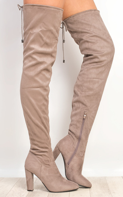 View the Perla Faux Suede Knee High Boots  online at iKrush