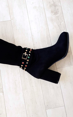 View the Abigail Faux Suede Gem Studded Knee High Boots online at iKrush