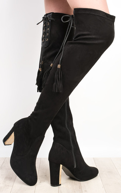 View the Shan Faux Suede Knee High Boots online at iKrush