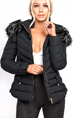 View the Poppy Padded Fur Collar Jacket online at iKrush