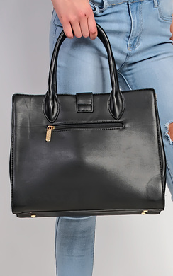 View the Cordillia Gold Buckle Faux Leather Tote Bag online at iKrush