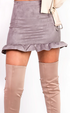 View the Shari Faux Suede Frill Skirt online at iKrush