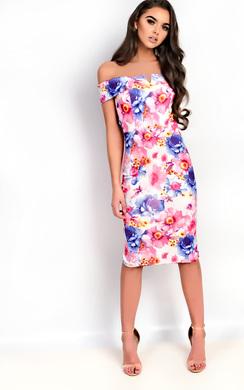 View the Emile Bardot Floral Midi Dress online at iKrush