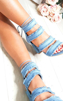 View the Anna Denim Frayed Sandal Block Heels online at iKrush