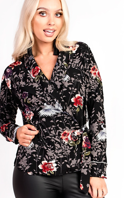 View the Keira Floral Wrap Front Blouse Top online at iKrush