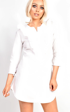 View the Blair Button Front Frill Shirt Dress online at iKrush