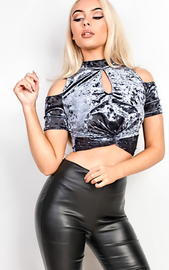 View the Pria Velour Cold Shoulder Crop Top online at iKrush