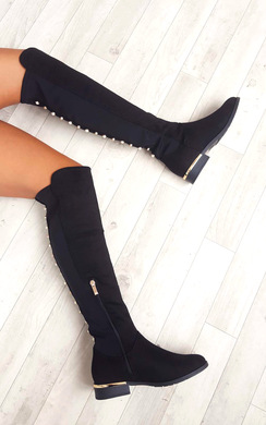 View the Cleo Faux Suede Studded Knee High Boots online at iKrush
