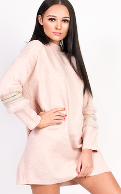 View the Lizzy Faux Fur Embellished Panel Knitted Dress online at iKrush