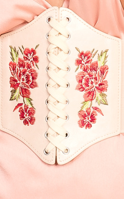 View the Carly Lace Up Embroidered Corset Belt online at iKrush
