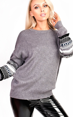 View the Isla Embroidered Aztec jumper  online at iKrush