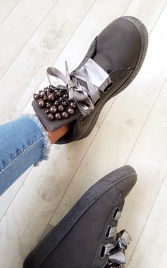 View the Ayla Embellished Faux Leather Trainers online at iKrush