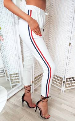 View the Felicity Striped Tie Tailored Trousers online at iKrush